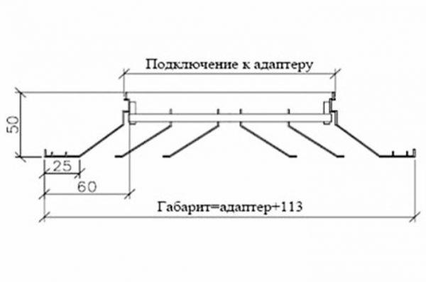 потолочный диффузор размеры